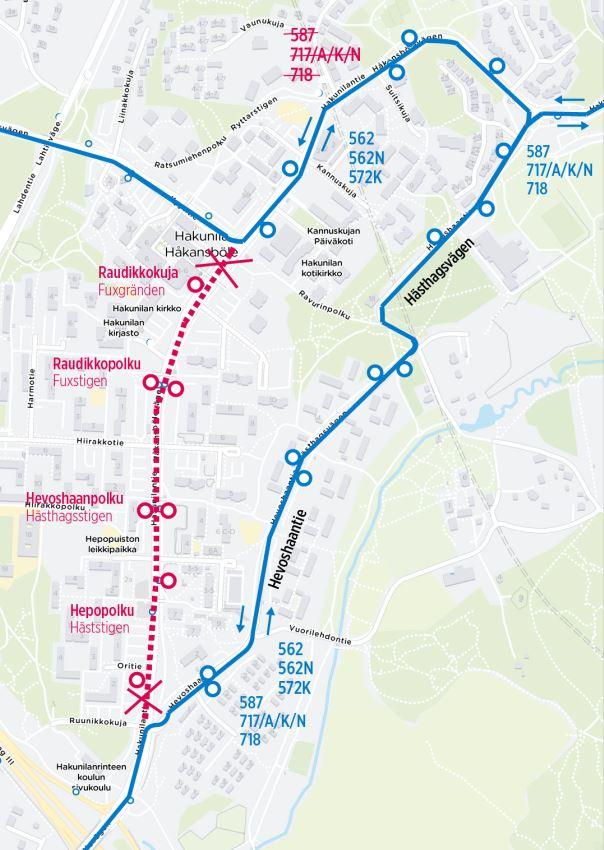 Kartta Hakunilan poikkeusreiteistä 15.-16.12.