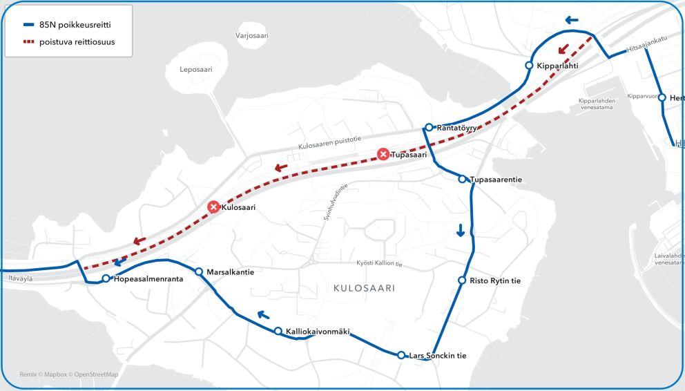 Kartta linjan 85N keskustan suunnan poikkeusreitistä Kulosaaressa