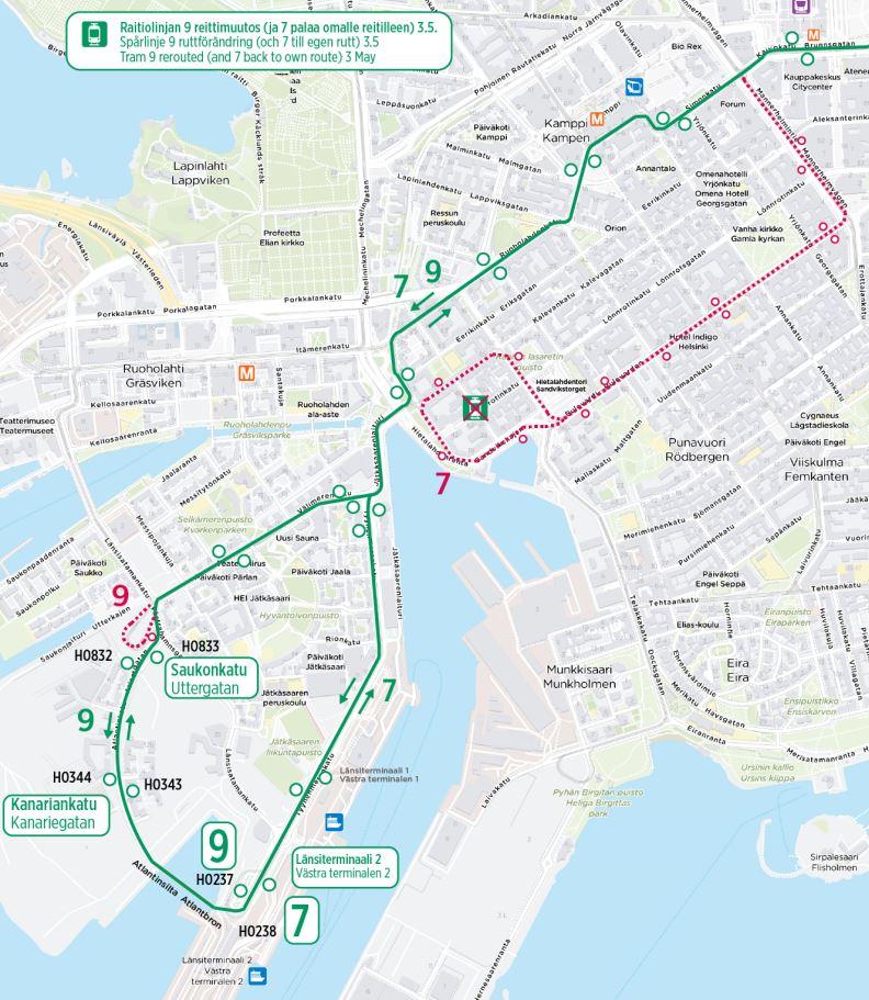 Kartta linjan yhdeksän reitistä alkaen kolmas toukokuuta