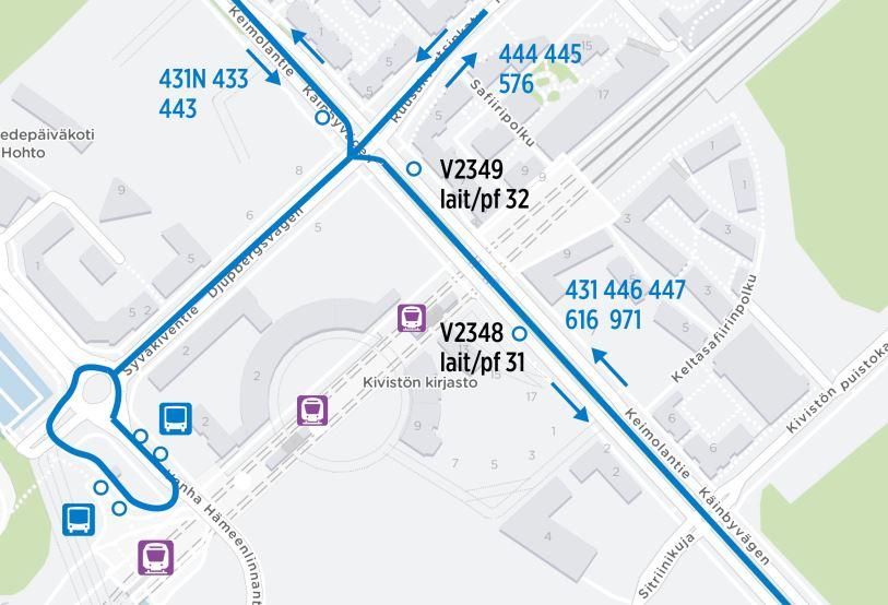 Kartta bussien normaaleista reiteistä Kivistössä