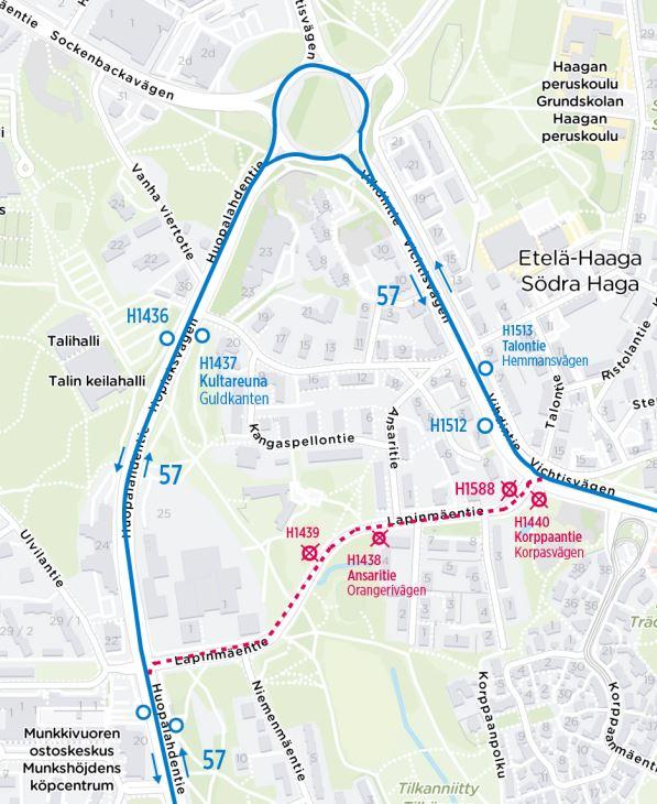 Kartta linjan 57 poikkeusreitistä Haagan liikenneympyrän kautta