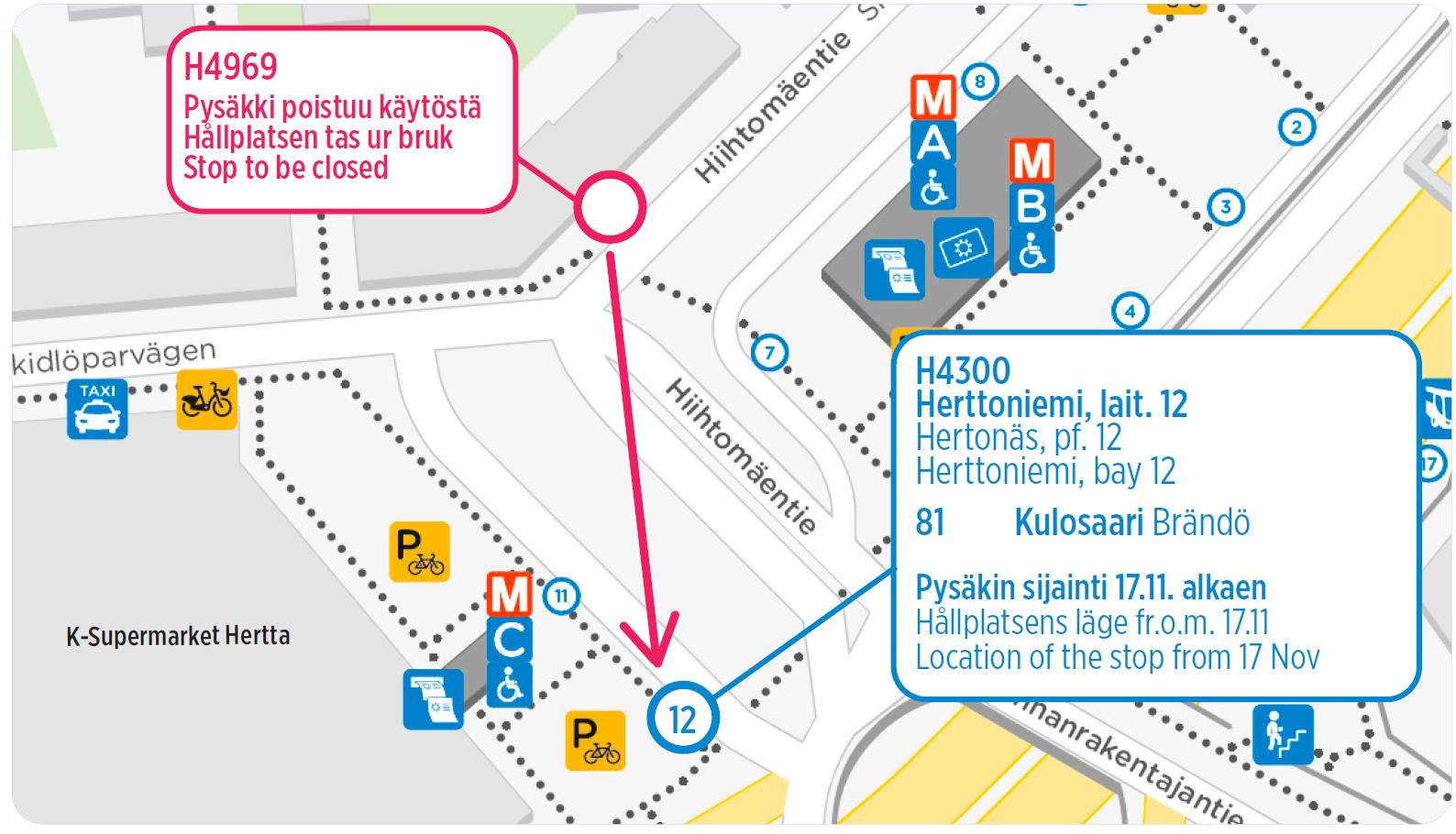 Bussin 81 lähtöpysäkki kartalla tekstin mukaisesti