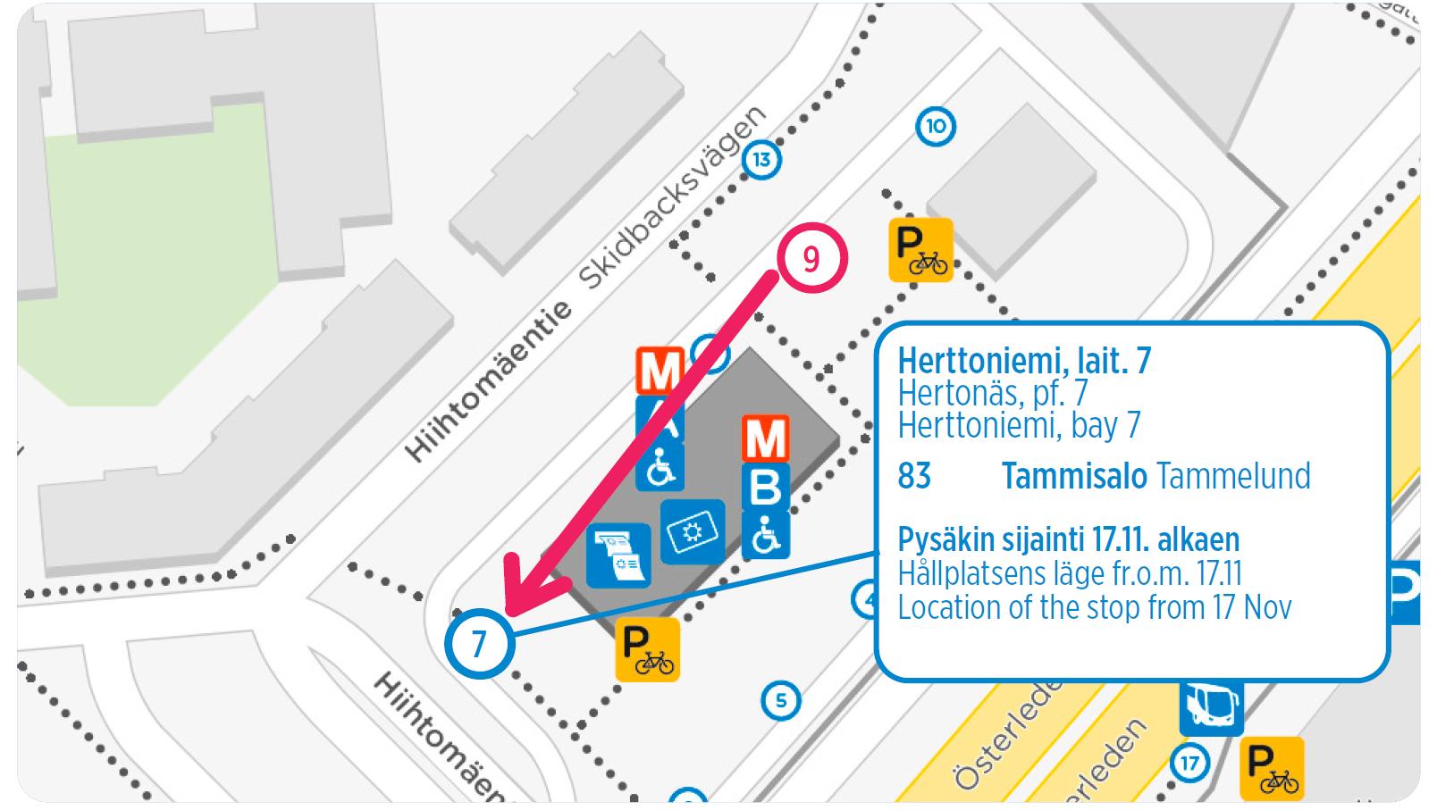 Bussin 83 lähtöpysäkki kartalla tekstin mukaisesti