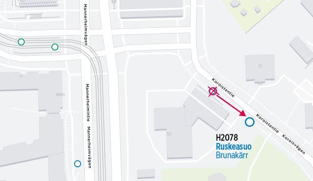 Kartta siirtyvästä pysäkistä H2078