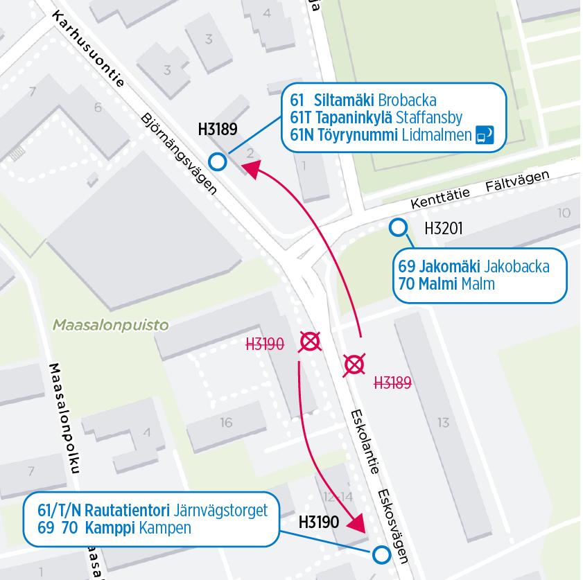 Kartta siirtyvistä pysäkeistä: Tapaninvainion suunnan pysäkki siirtyy pohjoiseen Kenttätien risteyksen toiselle puolelle. Aseman suunnan pysäkki siirtyy etelään, asemalle päin