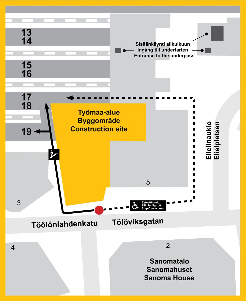 Kartta: Kävely-yhteydet Elielinaukion suunnasta