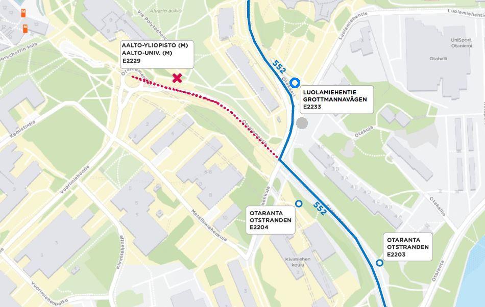 Kartta linjan 552 reitistä Otaniemessä 1.3. alkaen