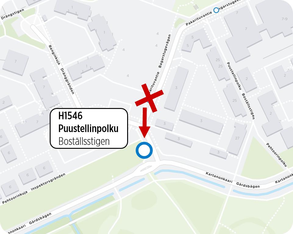 Kuva Puustellinpolku pysäkin uudesta sijainnista.