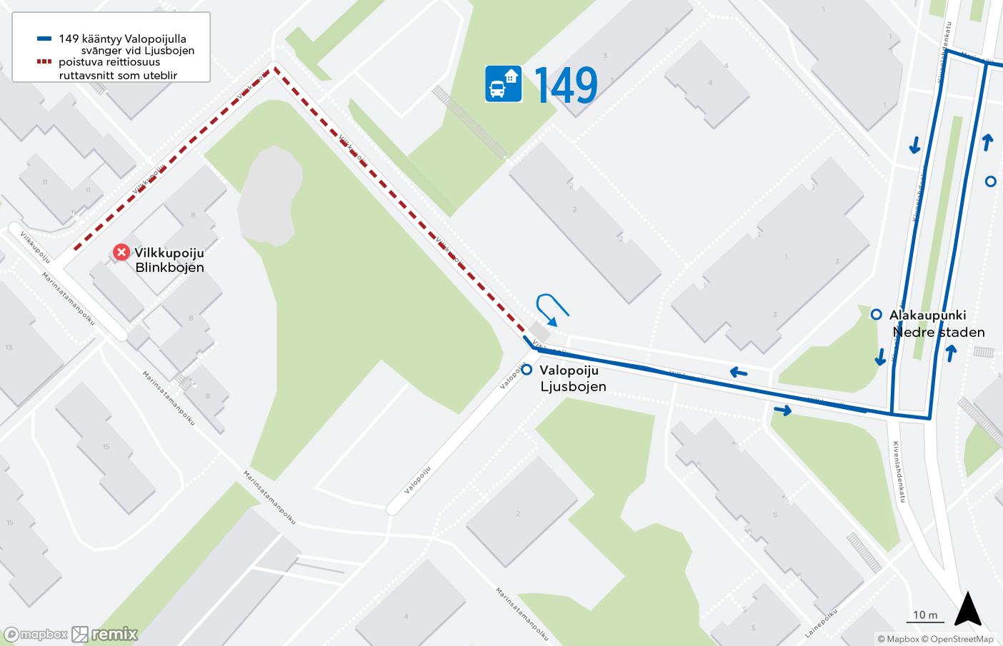 Kartta lähibussin 149 yhdellä pysäkinvälillä lyhentyvästä reitistä Kivenlahdessa