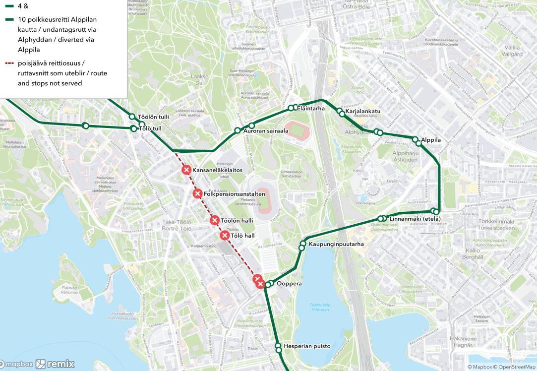 Kartta ratikoiden 4 ja 10 poikkeusreitistä Alppilan kautta illalla ja yöllä 3.7.2021
