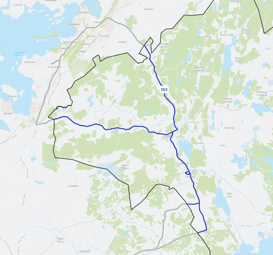 Reittikartta linja 193 reitistä
