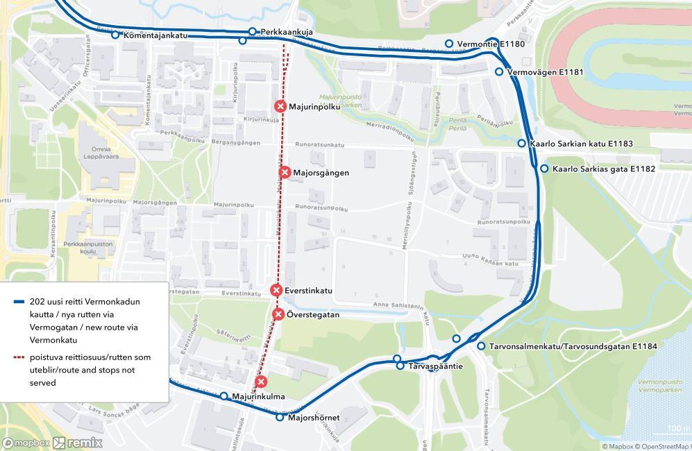 Kartta linjan 202 uudesta reitistä Vermontien kautta 16.8. alkaen