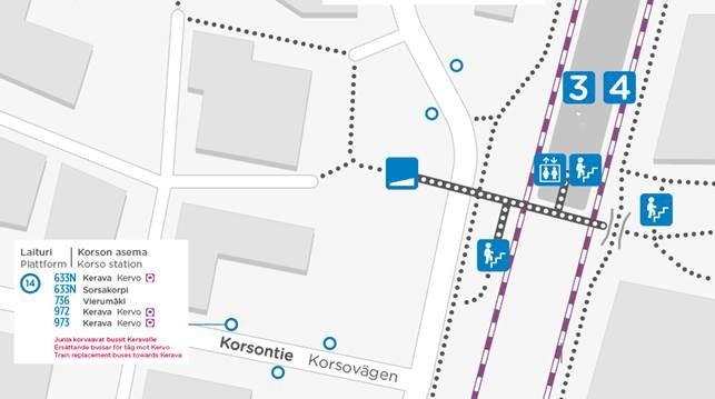 Kartta bussien 972 ja 973 sijainneista.