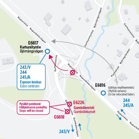 Karta över hållplatser som flyttas och stängs
