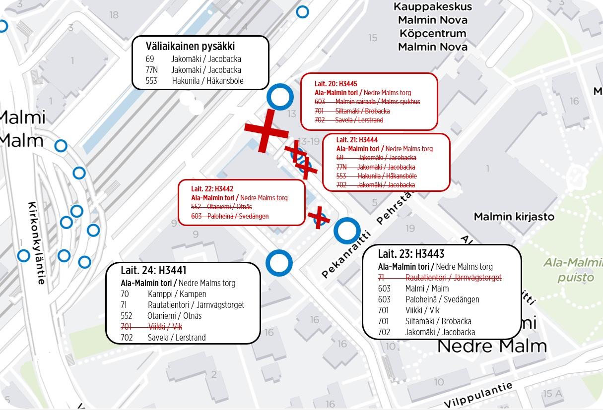 Kartta Ala-Malmin terminaalin poikkeusreiteistä