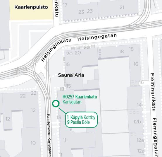 Kartta käyttöön otettavasta pysäkistä H0257 Kaarlenkatu 13:n edessä