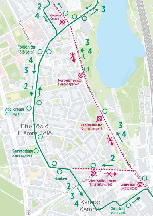 Kartta ratikoiden poikkeusreiteistä ensimmäisenä yönä: ajetaan etelän suuntaan Runeberginkadun ja Kampin kautta. Pohjoisen suuntaan normaalisti