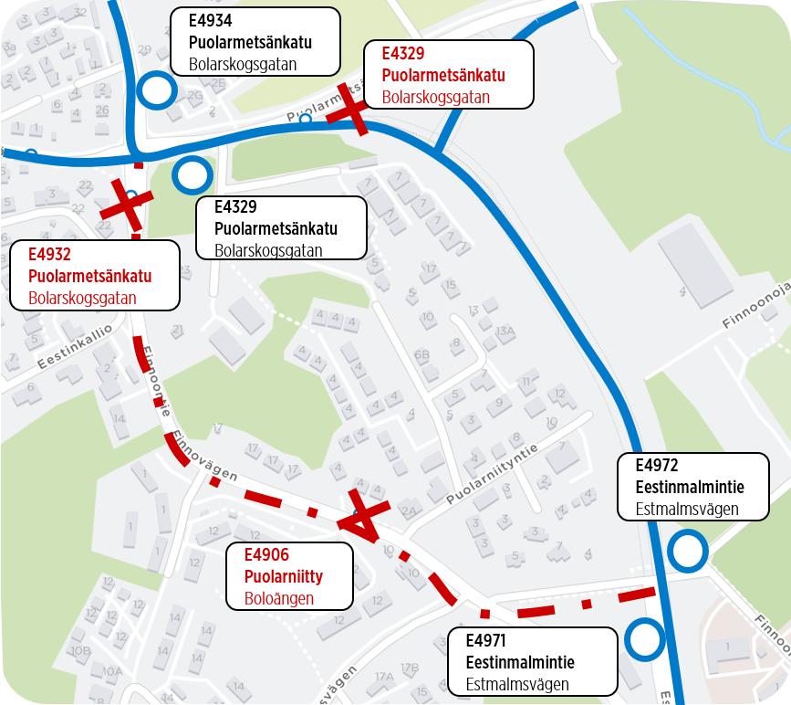 Kartta Finnoontien muutokset