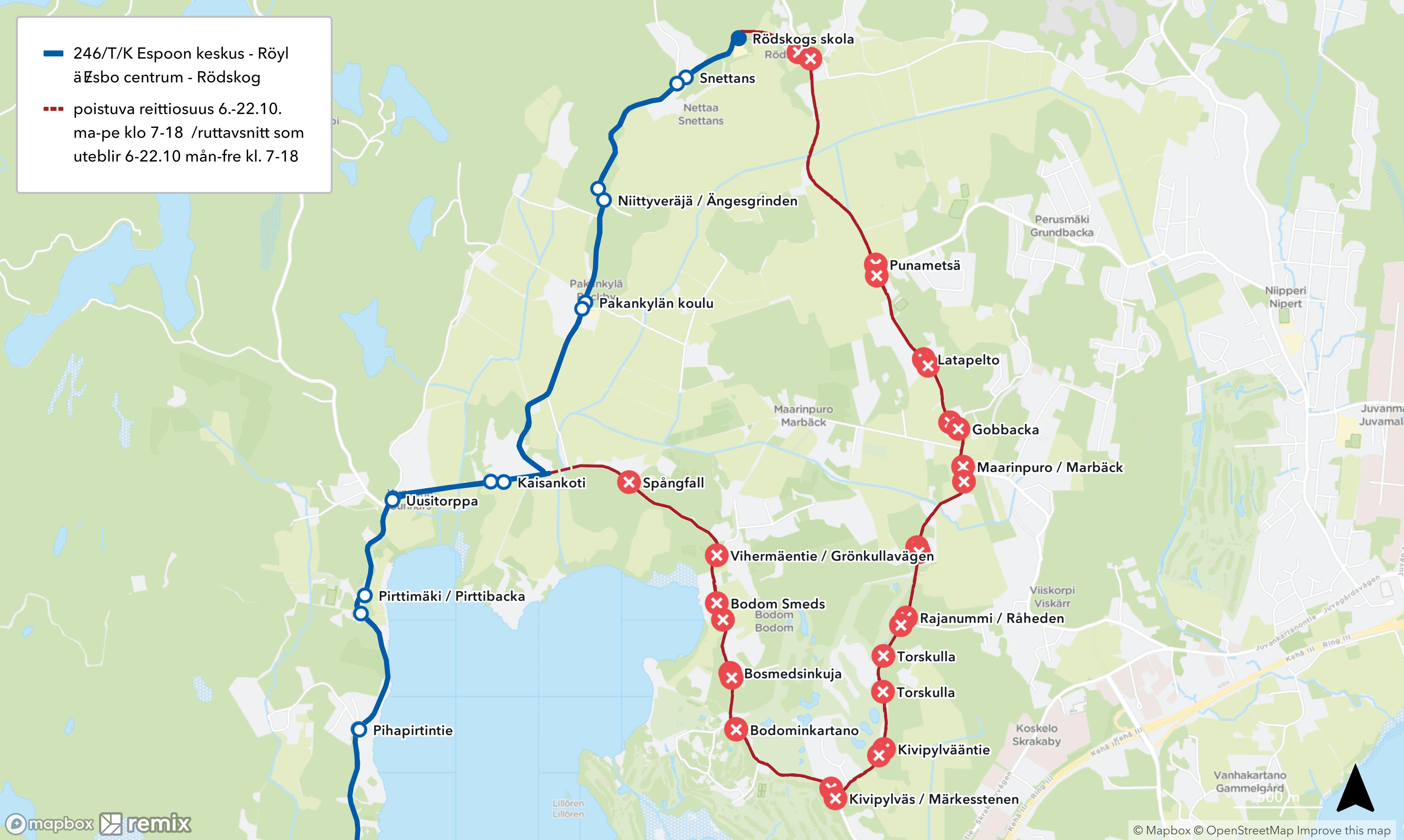 Kartta poistuvasta reittiosuudesta Bodomintie-Röyläntie / En karta över ruttavsnittet som uteblir Bodomvägen-Rödskogsvägen
