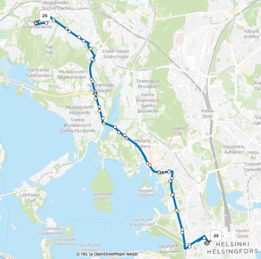 Kartta linja 25 reitistä