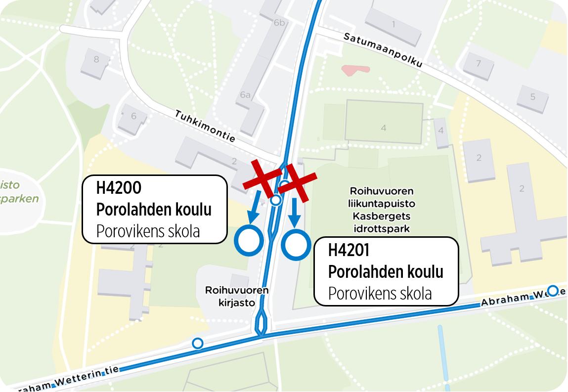 Kartta porolahden koulun pysäkeistä.