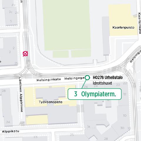 Kartta uudesta pysäkinsijainnista Helsinginkatu 24 edessä