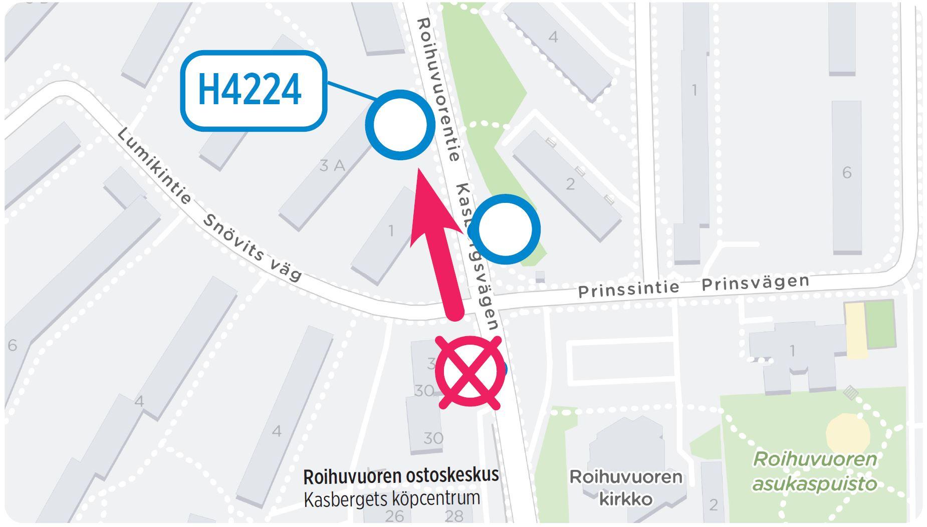 Pysäkki H4224 uusi sijainti Roihuvuorentiellä kartalla