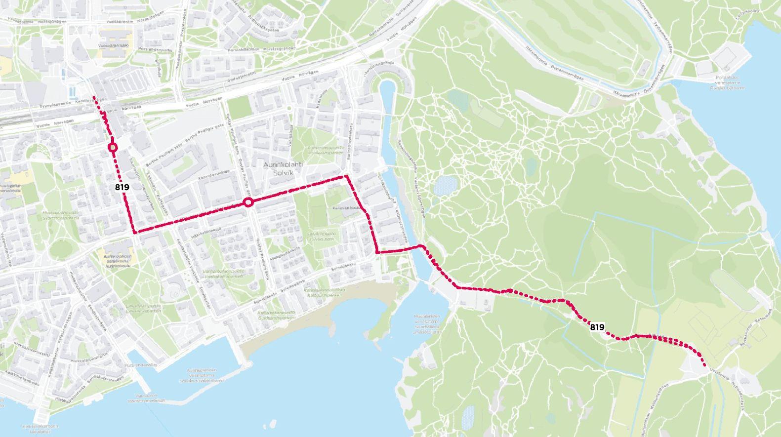 Reittikartta linjasta 819