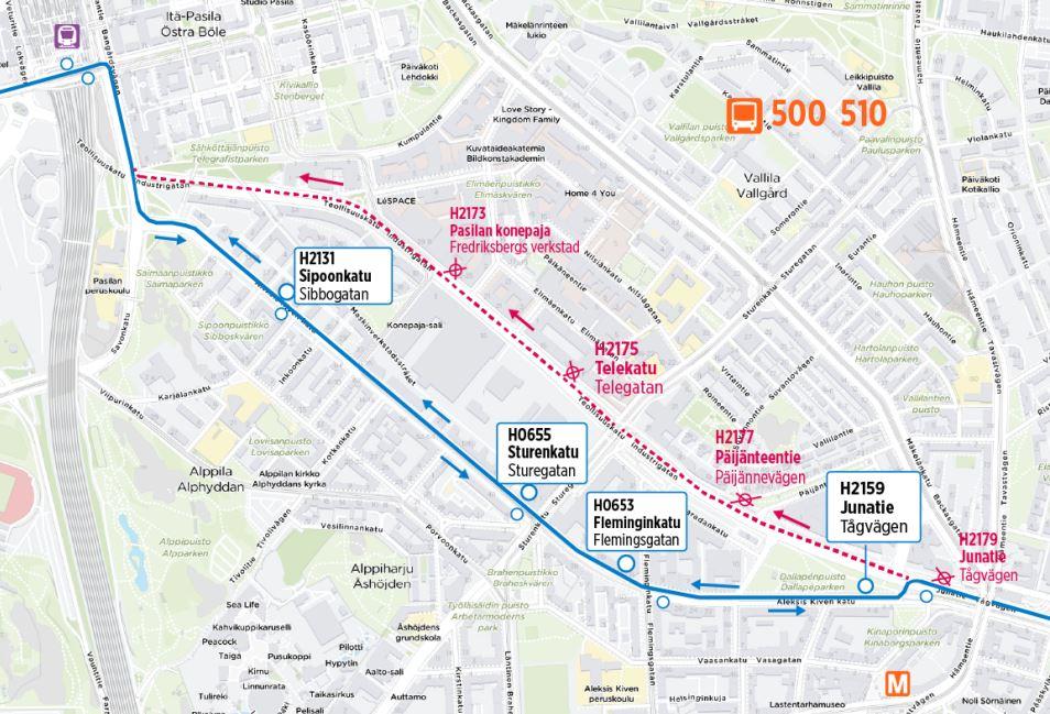 Kartta omalle reitille Aleksis Kiven kadulle palaavista linjoista 500 ja 510
