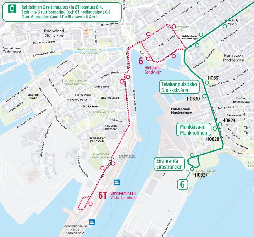 Kartta linjan 6 uudesta reitistä ja poistuvista pysäkeistä