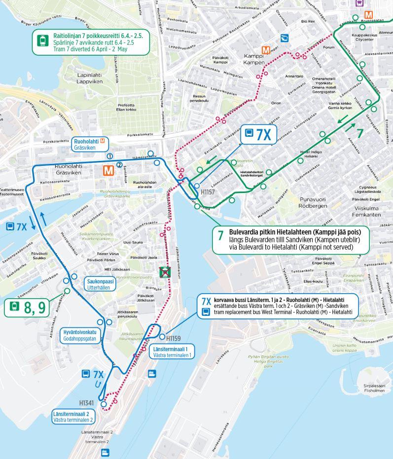Kartta linjan 7 poikkeusreitistä ja korvaavasta bussista 7X