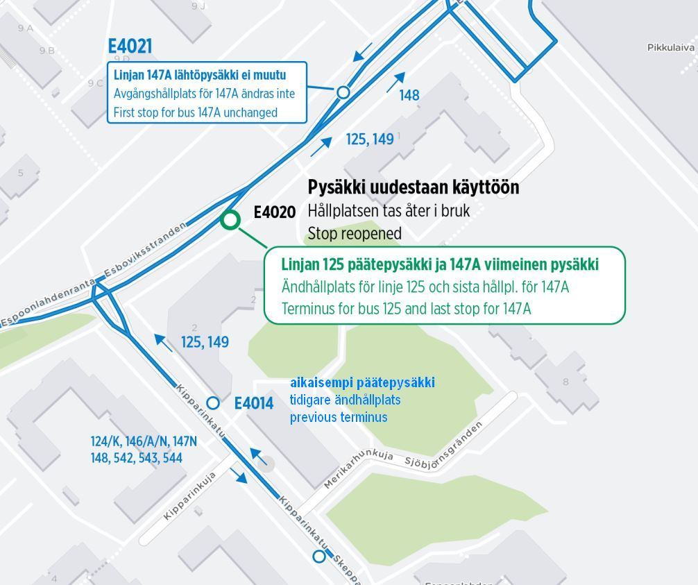 Kartta uudelleen käyttöön otettavasta pysäkistä E4020 Espoonlahdenranta 8:n edessä