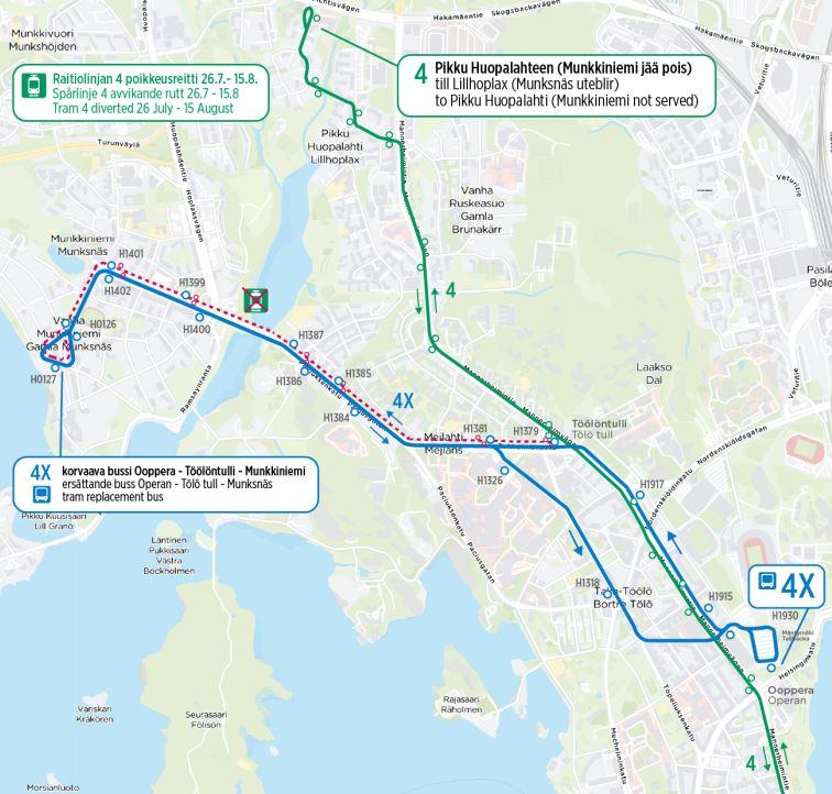 Kartta ratikan 4 poikkeusreitistä Pikku Huopalahteen ja korvausbussin reitistä Ooppera-Munkkiniemi