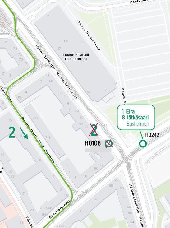 Kartta linjan 2 poikkeuksesta Oopperalla 17.5. alkaen