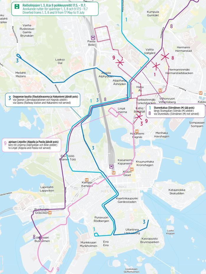 Kartta ratikoiden 1, 3, 8 ja 9 poikkeusreiteistä