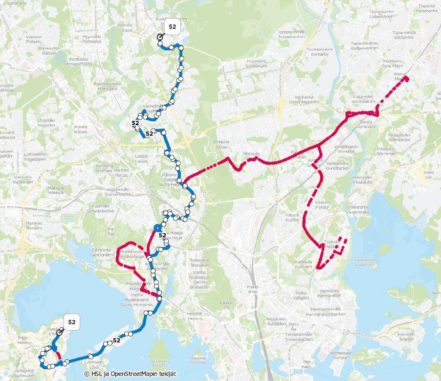 Kartta linjojen 52 ja 552 reittimuutoksista
