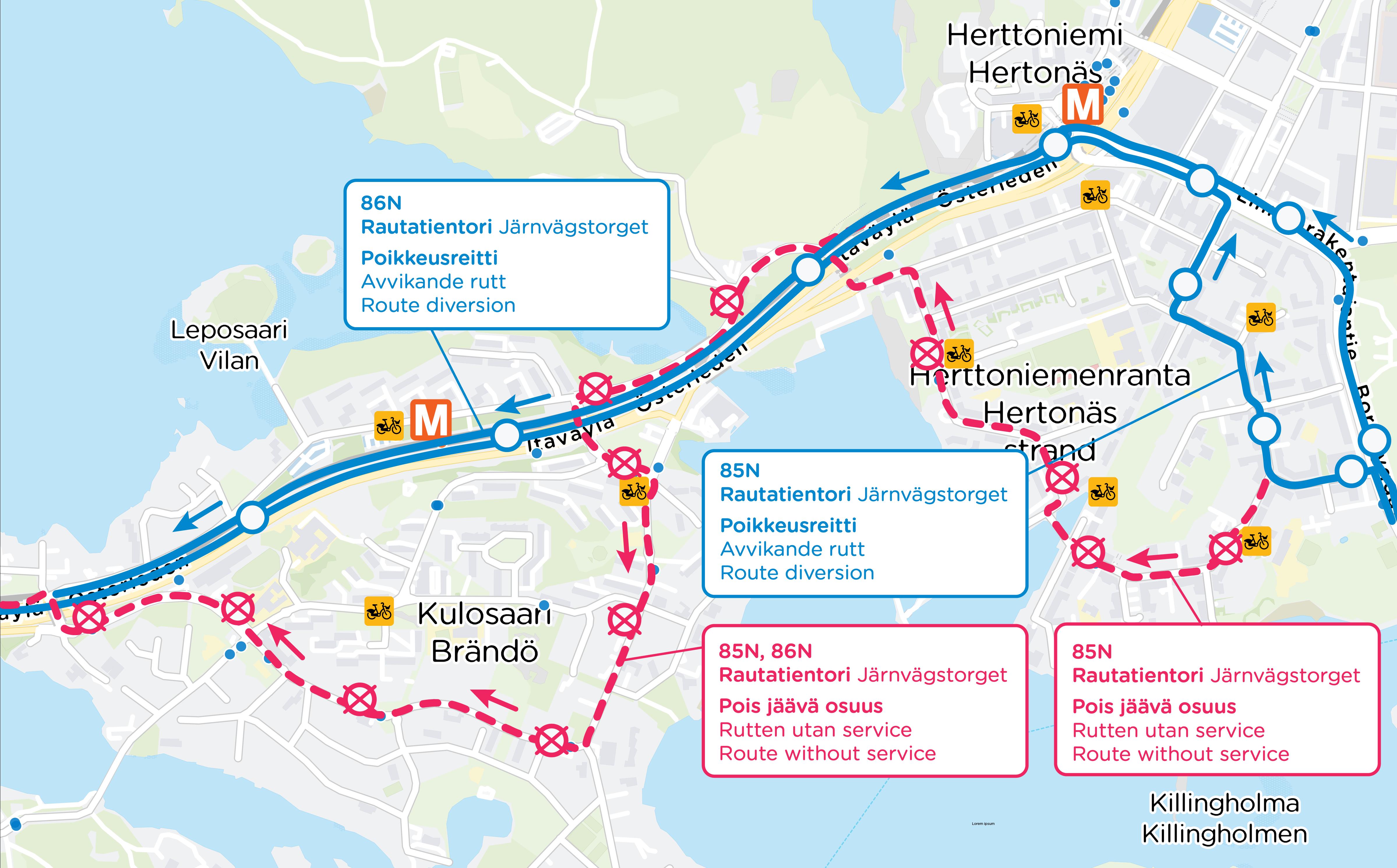 Linjat 85N ja 86N eivät aja keskustaan Herttoniemenrannan ja Kulosaaren kautta. Ajetaan itäväylää.