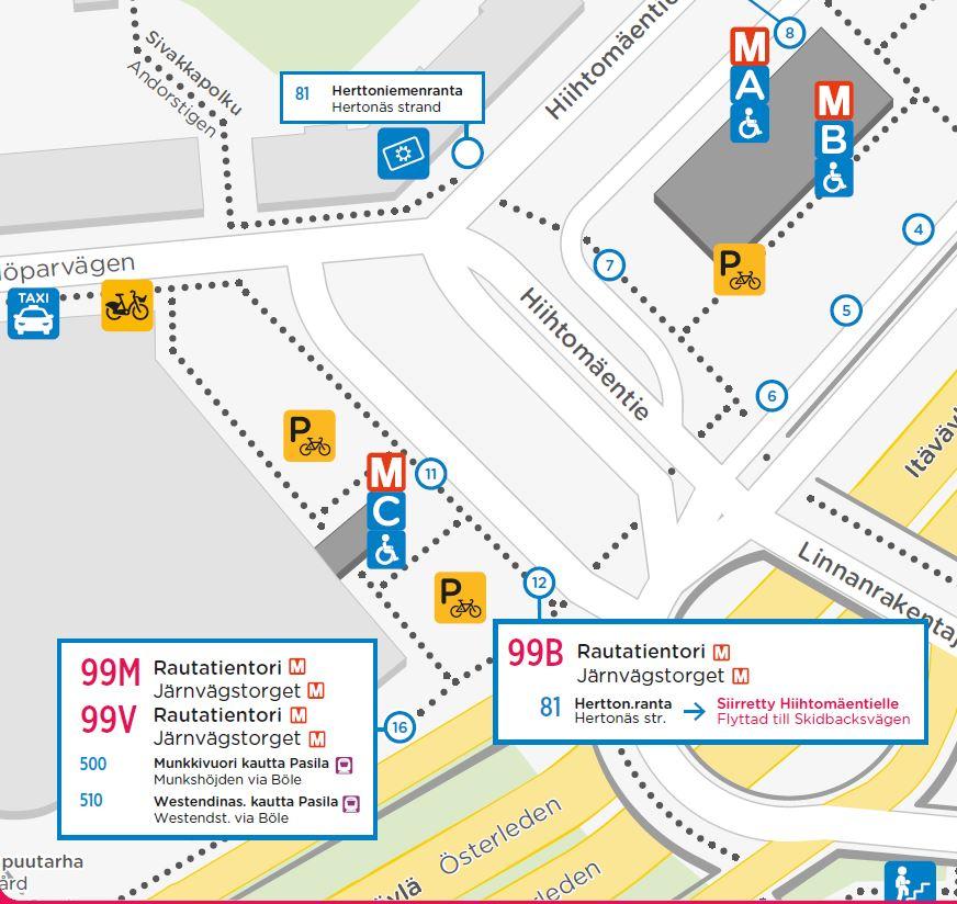 Linja 81 pysähtyy Hiihtomäentiellä n. 60m lähempänä Länsi-Herttoniemeä