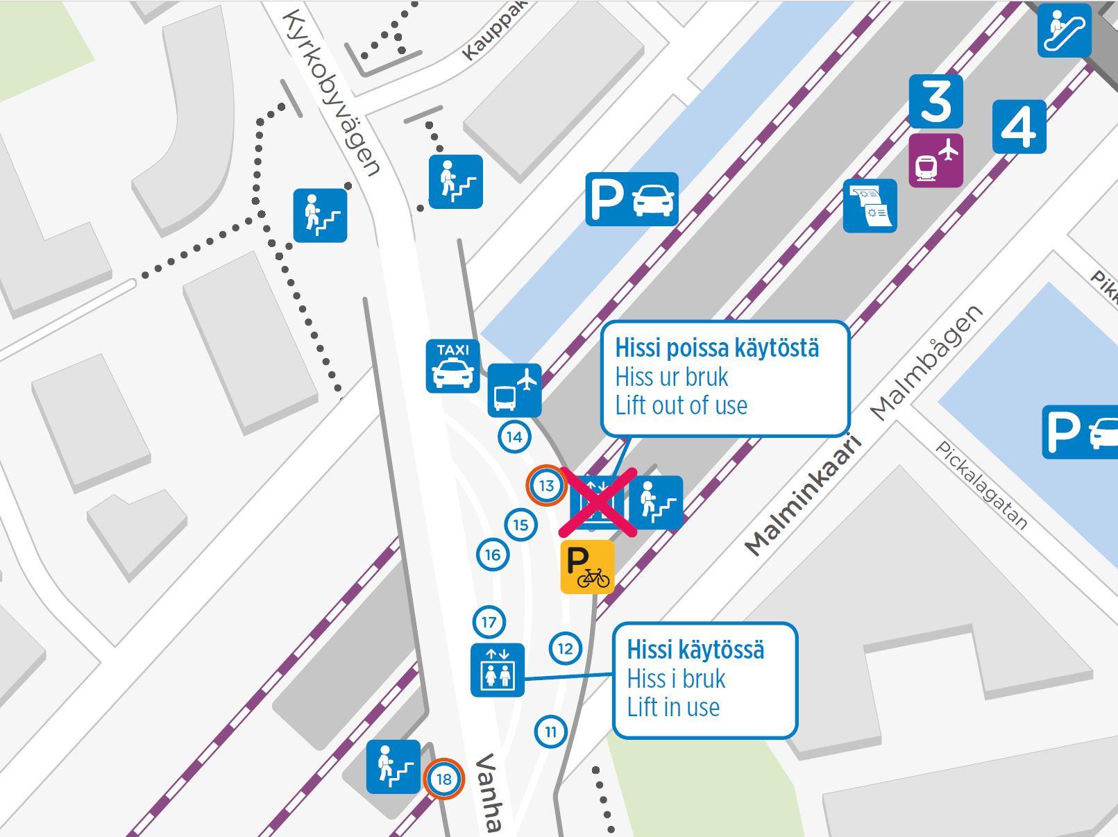 Uusi hissi kartalla Ylä-Malmin bussiterminaalissa laiturin 17 vieressä