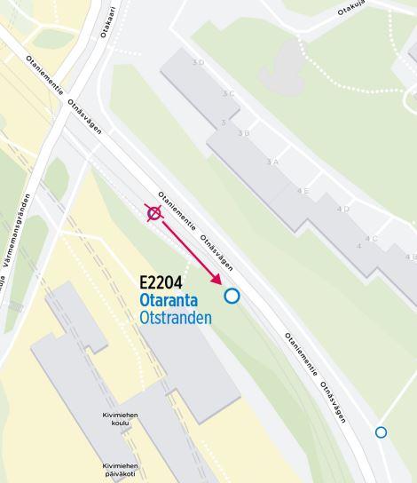 Kartta siirtyvästä pysäkistä E2204