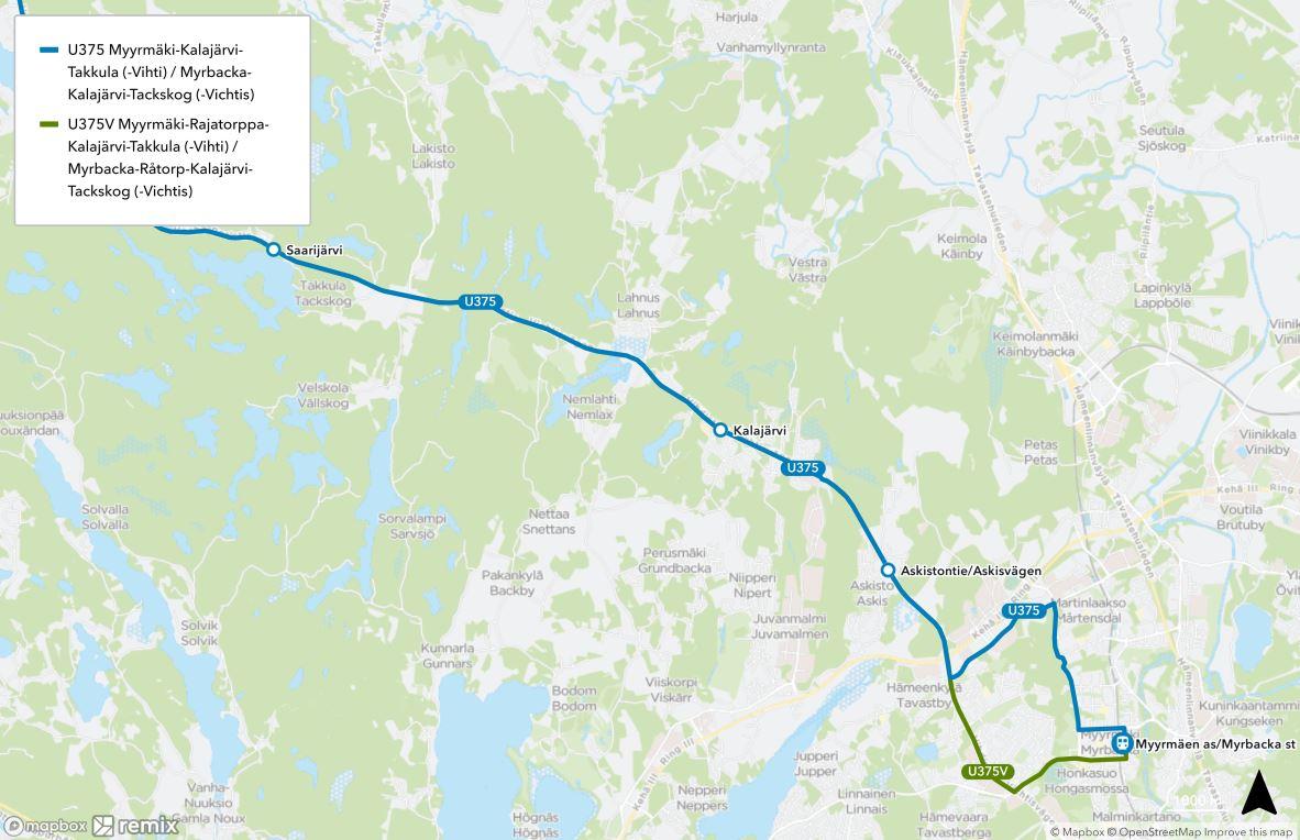 Kartta uudesta linjasta U375 ja U375V. Päälinjan vuorot ajetaan Myyrmäestä Martinkyläntietä Vihdintielle ja V-vuorot Rajatorpantien kautta