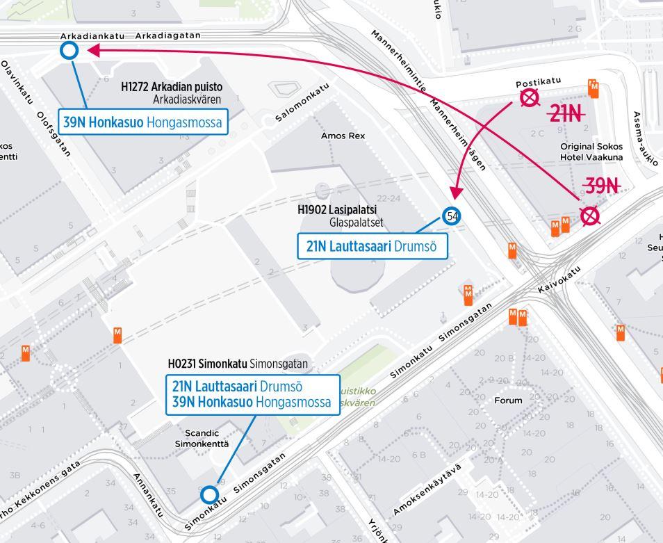 Kartta yölinjojen 21N ja 39N poikkeavista pysäkeistä keskustassa