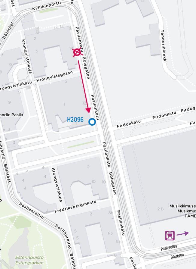 kartta siirtyvästä pysäkistä H2096