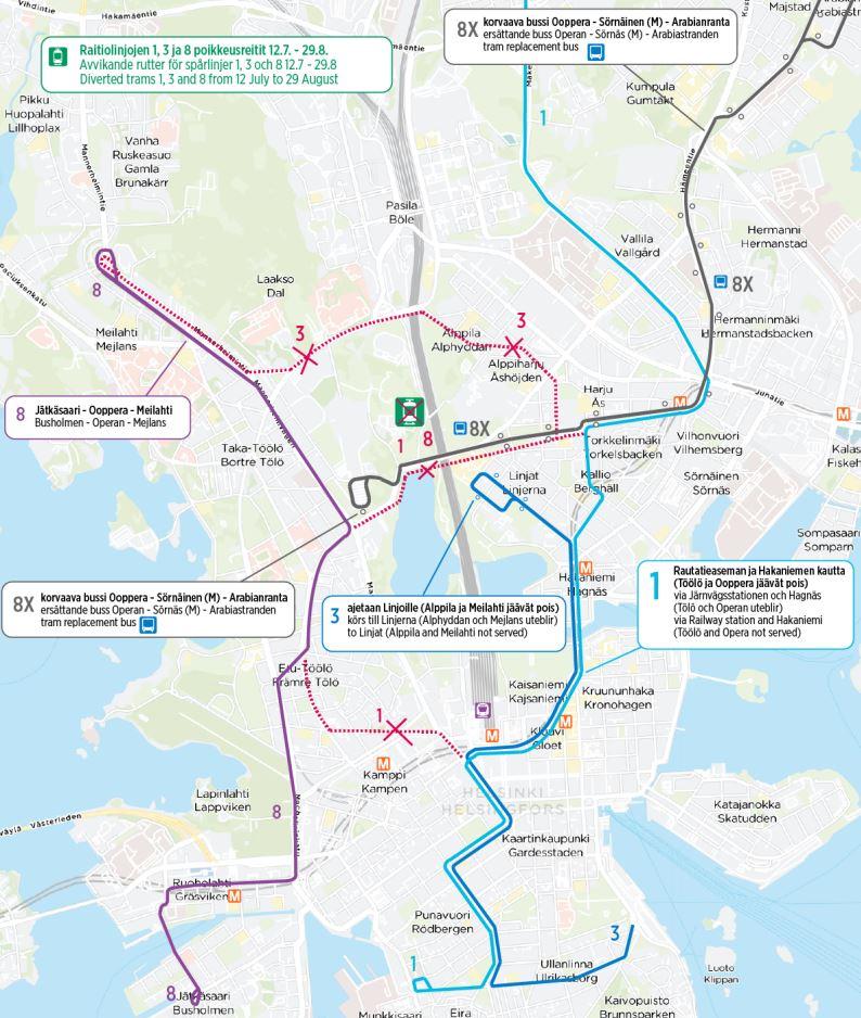 Kartta linjojen 1, 3 ja 8 poikkeusreiteistä 12.7. alkaen ja korvaavasta bussista 8X Mäntymäen kenttä - Sörnäinen - Arabia