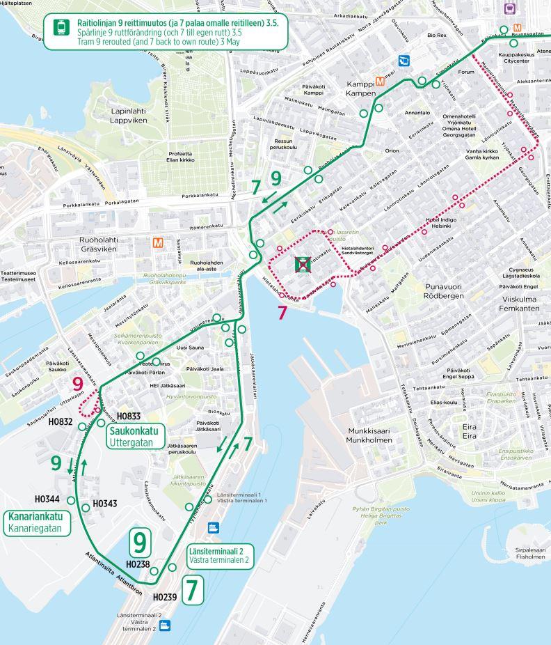 Kartta linjan 9 muuttuvasta reitistä ja linjasta 7 3.5. alkaen