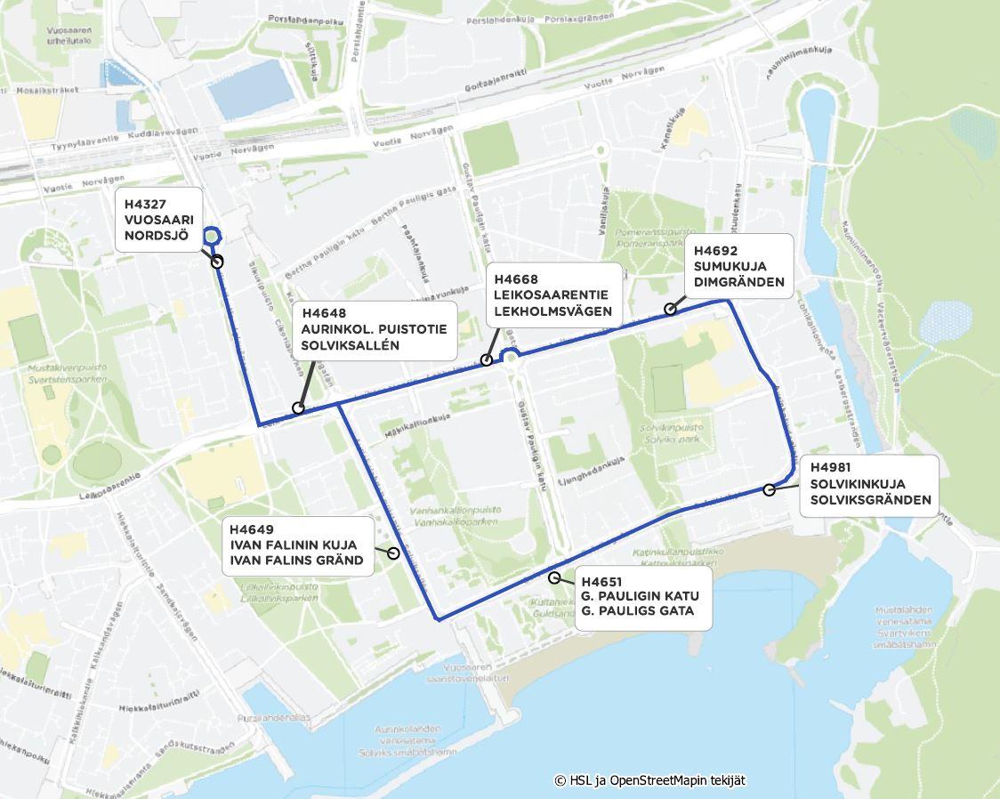 Linjan 90R reittikartta Vuosaaressa