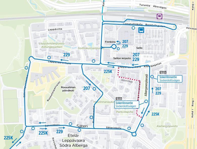 Karta över rutterna för linjer 207, 225K och 229 i Södra Alberga
