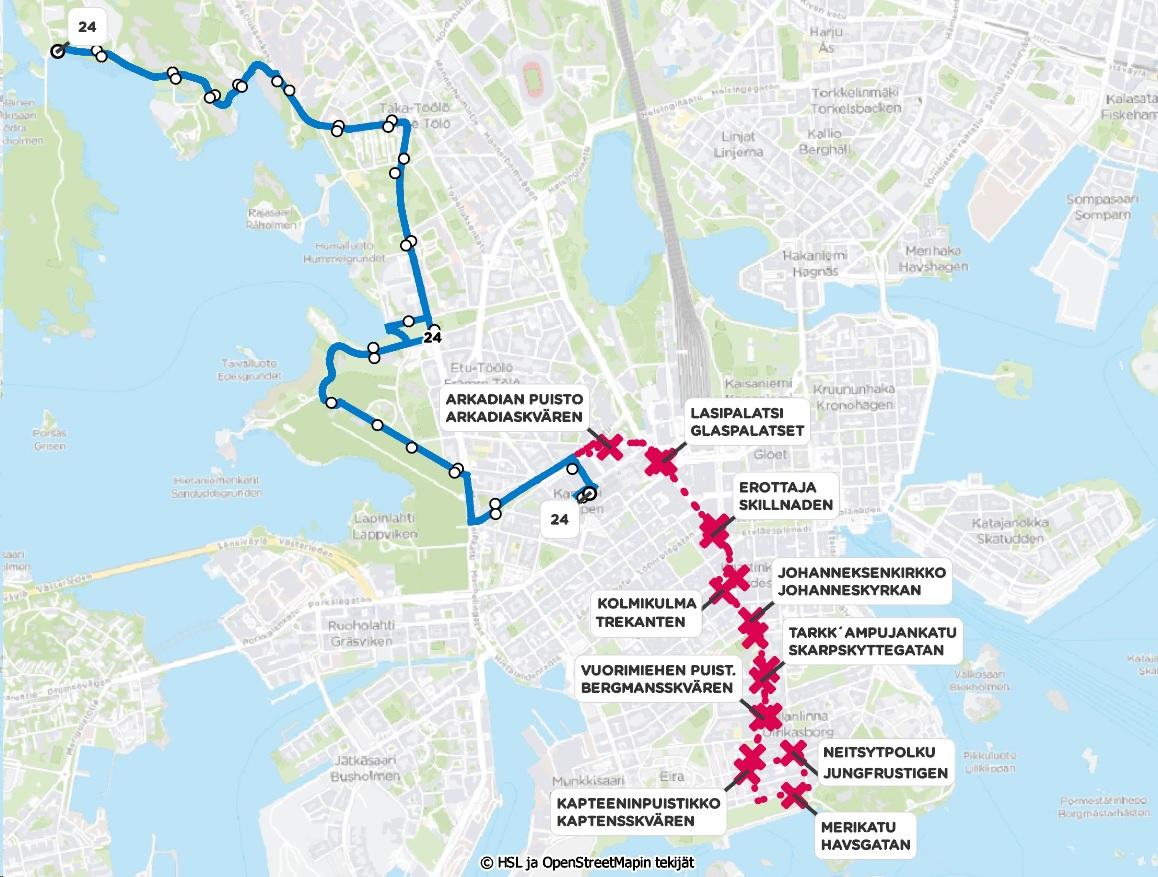 Kartta linja 24 reitistä