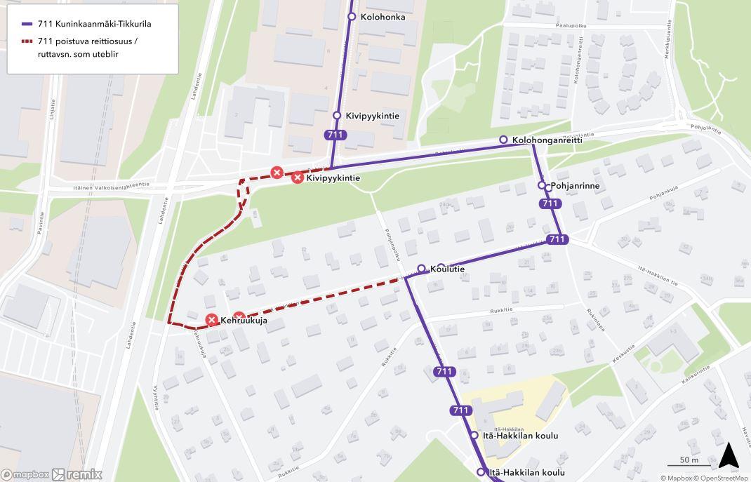 Kartta linjan 711 poikkeusreitistä Pohjanrinteen kautta