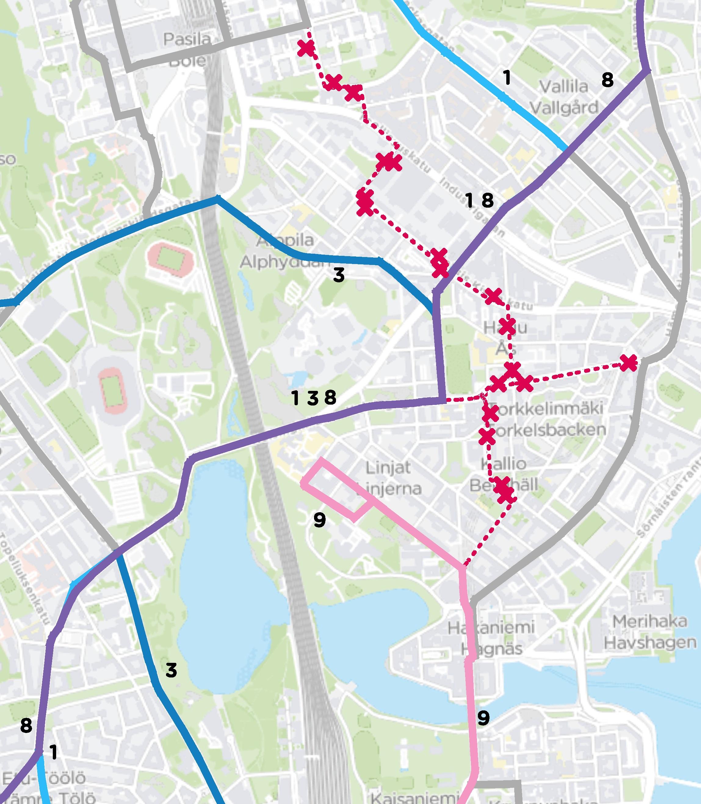 Poikkeusreittikartta 17.5.-12.7.